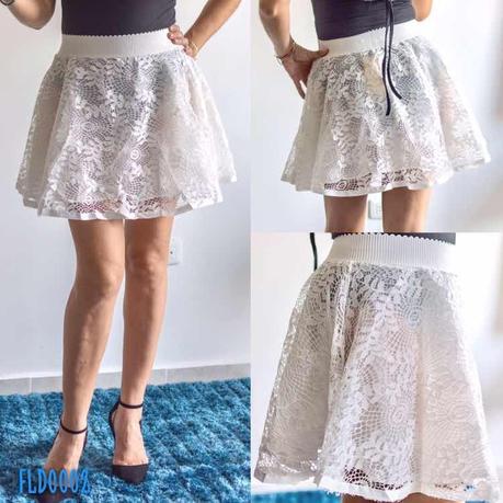 Encaje Falda Blanca Corta