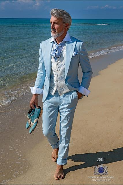 Traje de novio azul celeste algodón corte italiano moderno slimfit