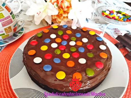 Tarta Brownie con Lacasitos y Nutella