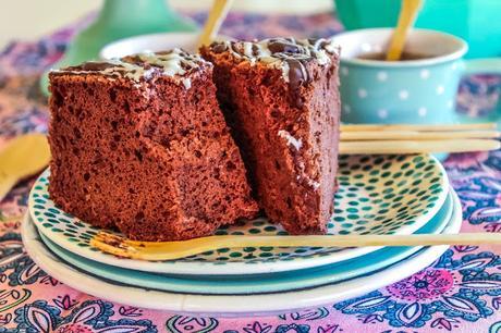 Glazed Chocolates Angel Food Cake