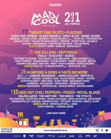 Mad Cool 2021: Red Hot Chili Peppers, The Killers, Twenty One Pilots, Placebo, Faith No More, Mumford & Sons, Pixies...
