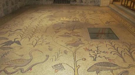 La multiplicaión de los panes y peces en Tabgha, Galilea