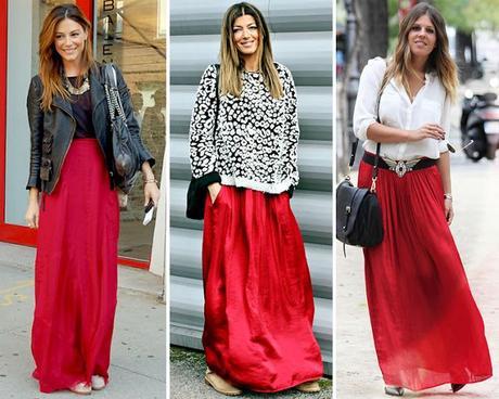 Outfit Falda Roja Larga