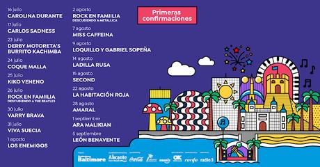 Noches Mediterráneas en Alicante: León Benavente, Second, Amaral, Viva Suecia, Coque Malla, La Habitación Roja, Loquillo y Gabriel Sopeña...