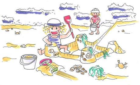 Los niños Tina y Leo se divierten en la playa