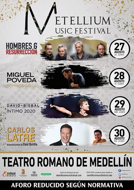 [Noticia] La nueva edición del Metellium Music Festival se celebrará entre los días 27 y 30 de agosto y contará con Hombres G, Miguel Poveda, David Bisbal, Carlos Latre y Dani Botillo