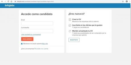Cómo darse de alta en un canal de búsqueda de empleo: Infojobs