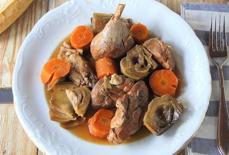 receta de pollo guisado con alcachofas y sidra