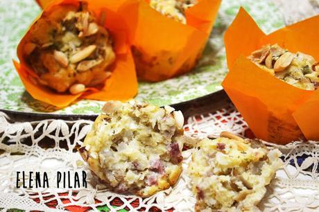 Muffins de setas con jamón