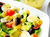 Ensalada variada salsa melocotón
