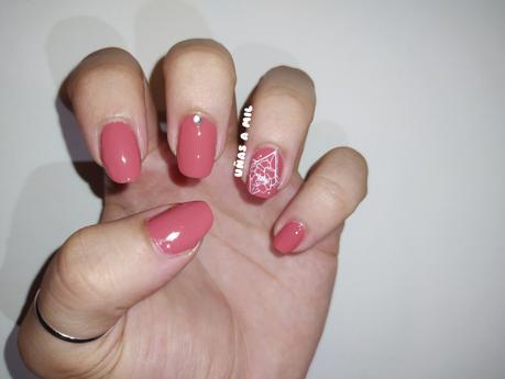 Diseño de uñas elegante y sencillo en rosa terracota o rosa teja con flores