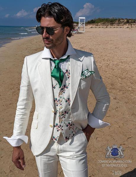 Traje de novio blanco en puro lino corte italiano moderno slimfit