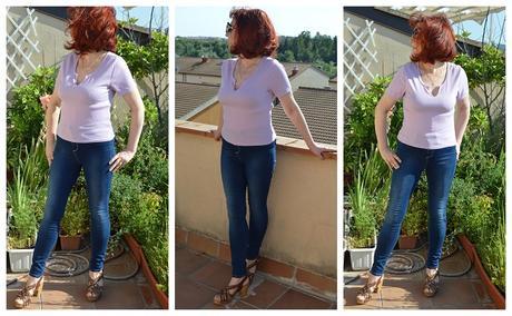 Femmeluxe Lilac V Neck Short Sleeve T-Shirt