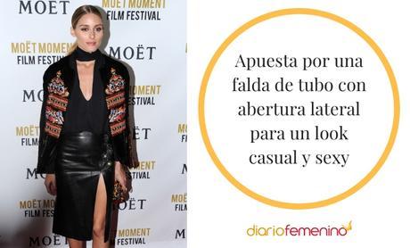 Look Falda Tubo Cuero Negra