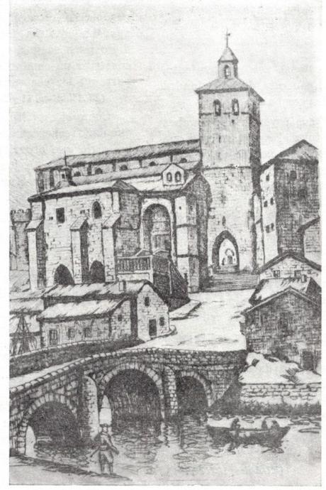 La catedral de Santander cuando aún era peninsula por la ría de Becedo