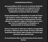 Aplazamiento Sonorama Ribera Streaming 2020 de Aranda de Duero