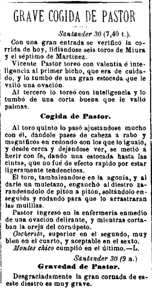 1911: Un miura coge de gravedad a Vicente Pastor en la Plaza de Cuatro Caminos