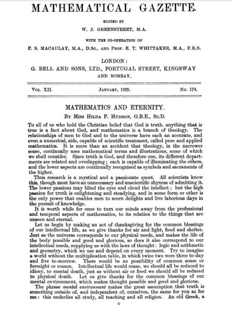 Matemáticas y Eternidad