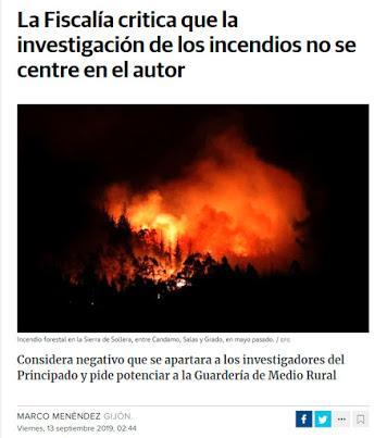 La incómoda investigación de los incendios forestales en Asturias
