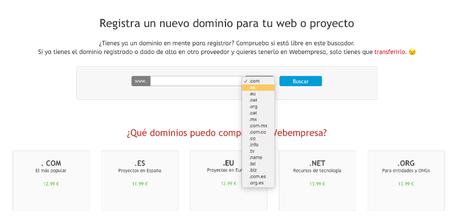 Cómo registrar o transferir un dominio web