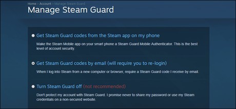 Steam guard manage page