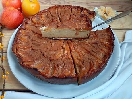 Receta de tarta flan de manzana, canela, postre, merienda, pastel, fácil, rico, con horno, Cuca