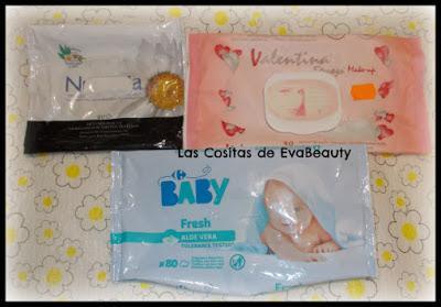 Toallitas desmaquillantes y de bebé Nuvenia, Valentina y Carrefour