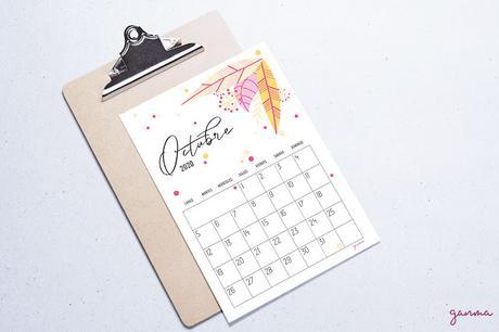 Freebie: calendario Octubre 2020
