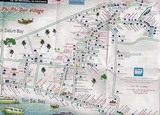 Phi Phi  village map, plano Islas Phi Phi, Tailandia, La vuelta al mundo de Asun y Ricardo, vuelta al mundo, round the world, mundoporlibre.com