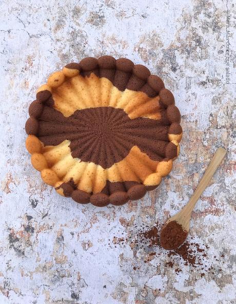 Bizcocho marmolado de vainilla y cacao