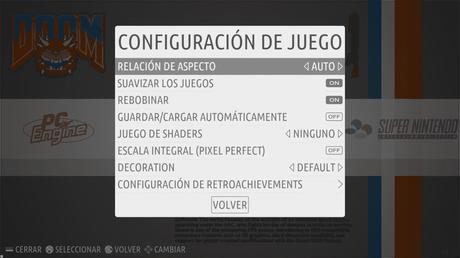 Menu de configuración de juegos en Emulador Consola Raspberry Pi