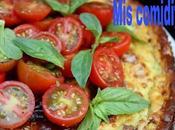 Pastel queso, albahaca tomates