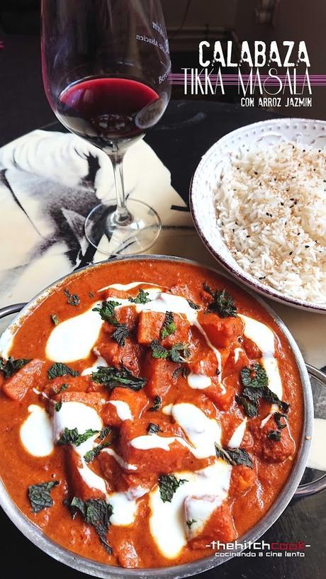 Calabaza Tikka Masala con arroz jazmín (Veggie Indian Dish)