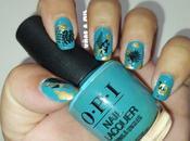Diseño uñas tropical azul turquesa