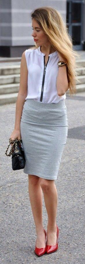 Falda Pegada Corta Con Blusa