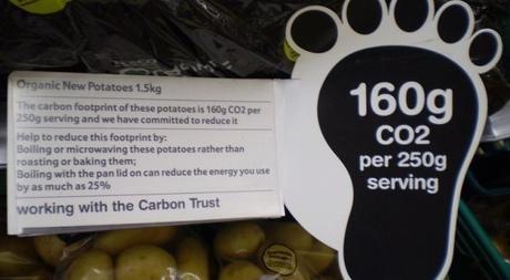Ejemplo de etiqueta de huella de carbono de empresa de distribución