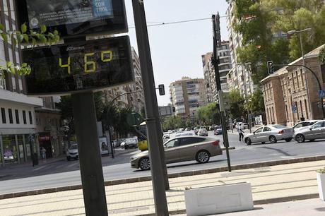 Altas temperaturas que se alcanzan en Murcia (España)