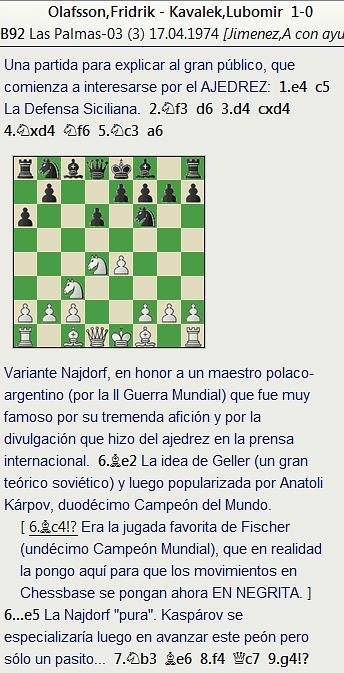 Grandes combates canarios (29) - Fridrik Olafsson vs Kavalek, Las Palmas (3) 1974