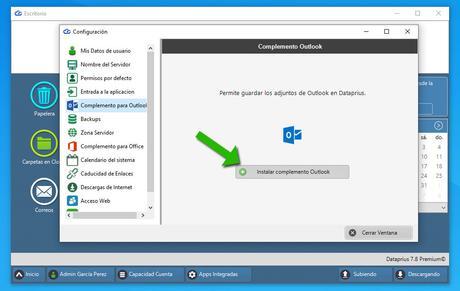 Dataprius. Instalar complemento Outlook.