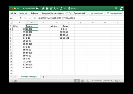 Transformar números en etiquetas con Excel