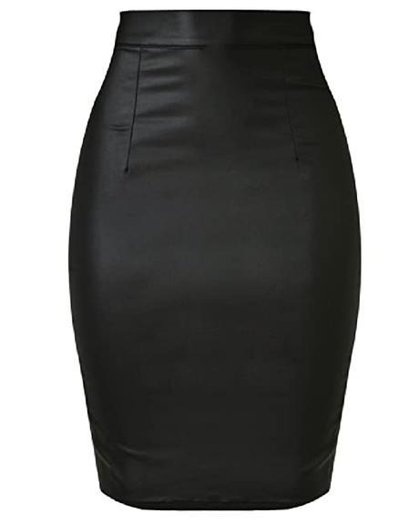 Tubo Falda De Cuero Negra Larga
