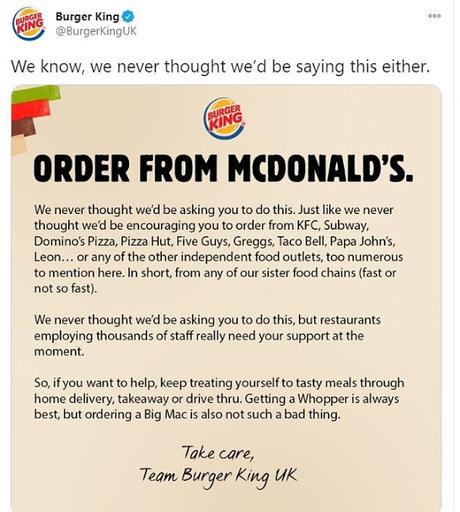 Burger King pide a sus clientes que hagan pedidos en McDonald's