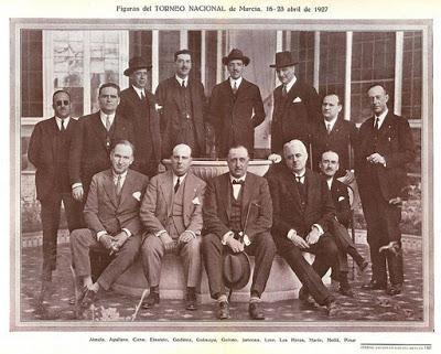 Jugadores y organizadores del Torneo Nacional de Ajedrez Murcia-1927
