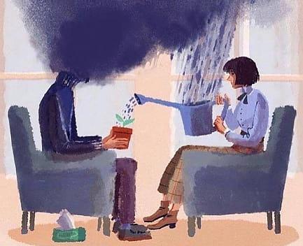 persona deprimida en terapia