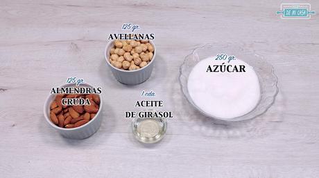 ingredientes praliné de avellanas y almendras