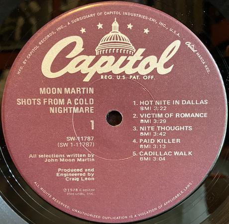 Moon Martin - Shots From a Cold Nightmare Lp 1978