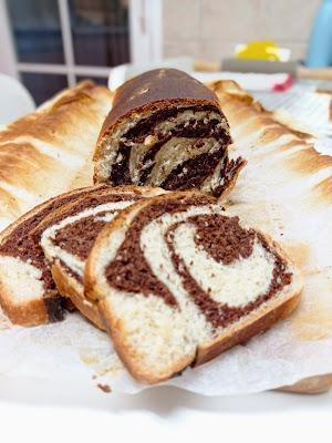 Pan de molde bicolor con cacao - Sin lácteos y sin huevo