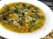 Sopa arroz verduras jamón