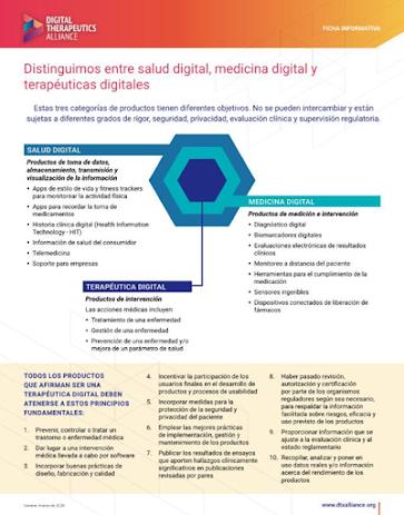 Diferencias entre salud digital en general, medicina digital, y terapéuticas digitales