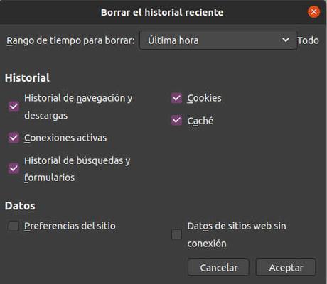 Como borrar el historial de Firefox desde el teclado